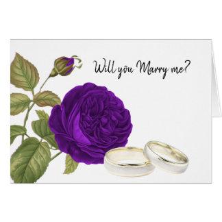 Cartão Você casar-me-á, rosa do roxo