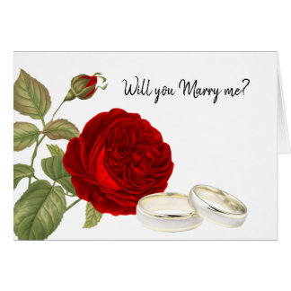 Cartão Você casar-me-á, rosa vermelha