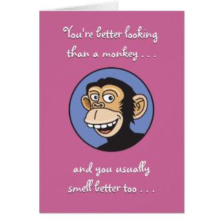 Cartão Você contra o aniversário do macaco