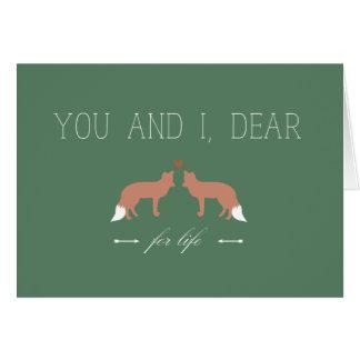 Cartão Você e I caros para raposas da vida no amor