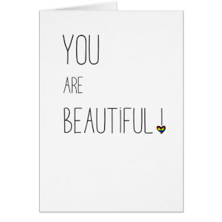 Cartão Você é - LGBT - coração bonito do arco-íris