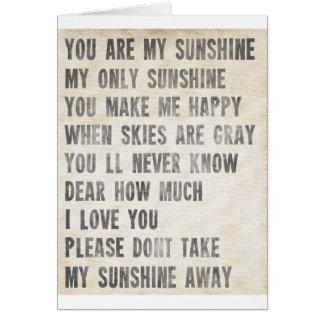 Cartão Você é minha luz do sol (o branco antigo)