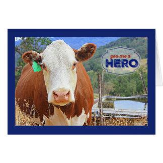 Cartão Você é uma vaca do herói
