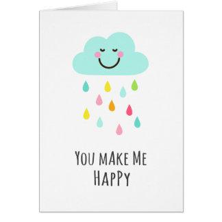 Cartão Você faz-me feliz, nuvem com pingos de chuva