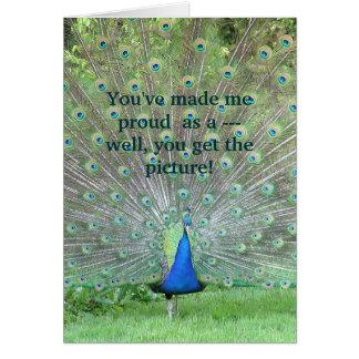 """Cartão """"Você fez-me orgulhoso como um pavão"""" (a FOTO)"""