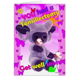 Cartão Você mandou um tonsillectomy obter bem logo