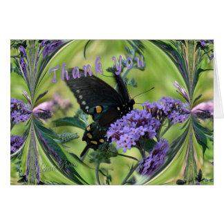 Cartão Você-mudança do obrigado da borboleta dentro das