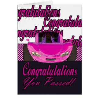 Cartão Você passou os parabéns passados teste de condução