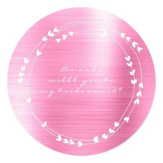 Cartão Você será meu branco do rosa do rosa da grinalda