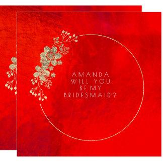 Cartão Você será meu branco vermelho Vip da dama de honra