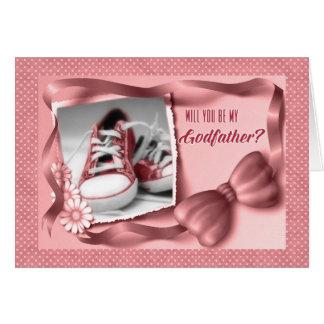 Cartão Você será meu padrinho - rosa do bebé