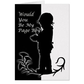 Cartão Você será meu pageboy, tempo velho preto e branco