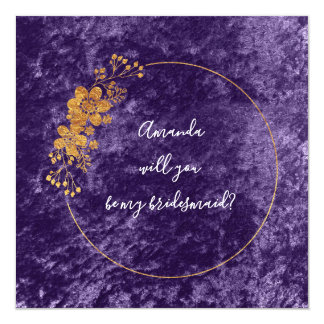 Cartão Você será meu veludo violeta roxo da dama de honra