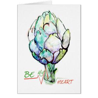 Cartão Você será meus alcachofra/coração?