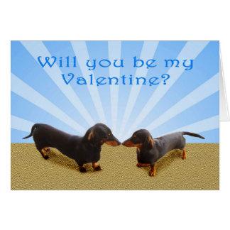 Cartão Você será meus namorados, dois Dachsunds