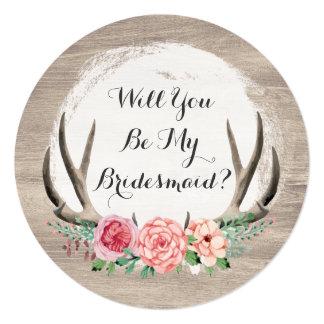 Cartão Você será minha dama de honra? Antlers florais