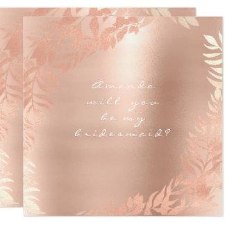 Cartão Você será minha dama de honra que o rosa perolado