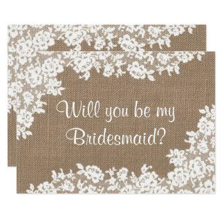 Cartão Você será minha dama de honra? Serapilheira & laço