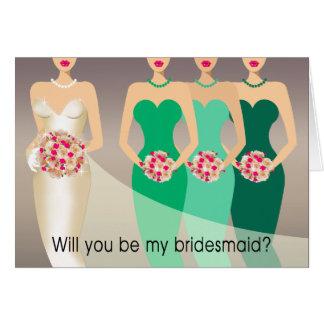 Cartão Você será minha dama de honra? Verde nupcial do