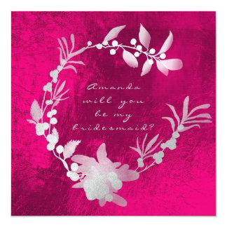Cartão Você será minha grinalda cor-de-rosa de prata