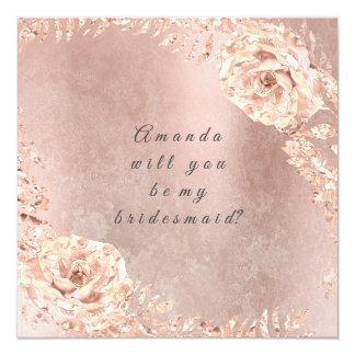 Cartão Você será minha grinalda cor-de-rosa do ouro da