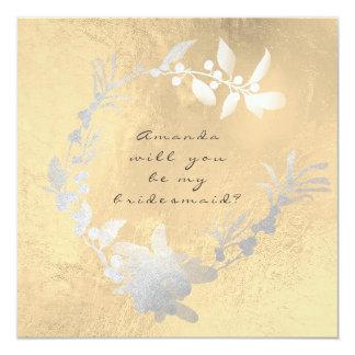 Cartão Você será minha grinalda de prata cinzenta do ouro