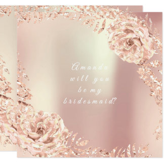 Cartão Você será minha grinalda do rosa do rosa do ouro