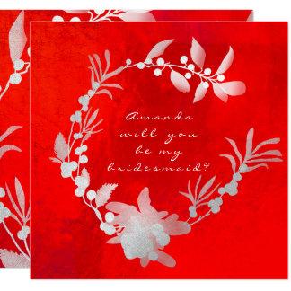 Cartão Você será minha grinalda vermelha de prata