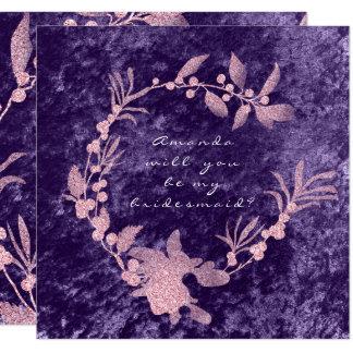 Cartão Você será minha grinalda violeta da ameixa do rosa
