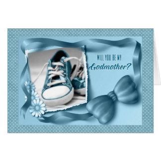 Cartão Você será minha madrinha - azul do bebé