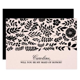 Cartão Você será minha madrinha de casamento? Cora o rosa