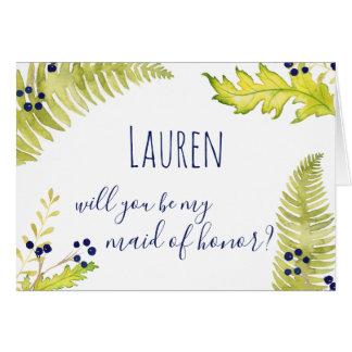 Cartão Você será minha madrinha de casamento? Natureza