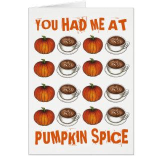 Cartão Você teve-me no outono de Latte do café da