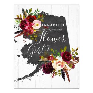 Cartão Vontade floral do estado de Alaska você seja meu