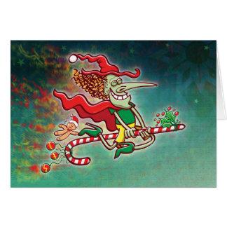 Cartão Vôo da bruxa do Dia das Bruxas em um bastão de