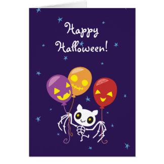 Cartão Vôo de esqueleto do bastão do Dia das Bruxas com