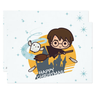 Cartão Vôo de Harry e de Hedwig após o Natal de Hogwarts