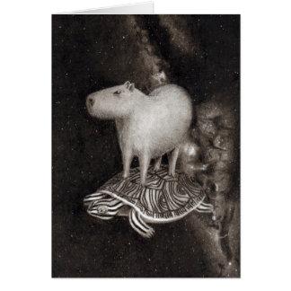 Cartão Vôo do Capybara e da tartaruga de água doce