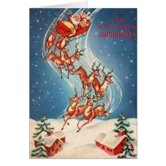 Cartão Vôo do trenó e da rena de Papai Noel do vintage