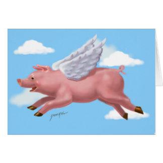 Cartão Vôo leitão através das nuvens