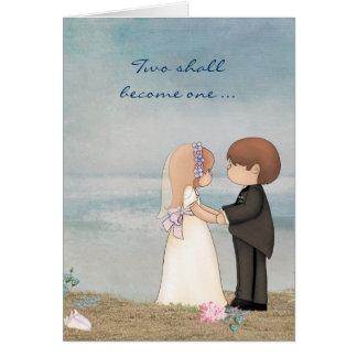 Cartão votos de casamento na praia