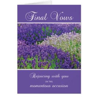 Cartão Votos finais da freira, júbilo, flor da lavanda