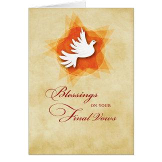 Cartão Votos solenes finais, bênçãos da freira, Espírito