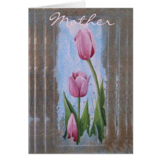 Cartão Cartão w/envelopes do dia das mães de três tulipas