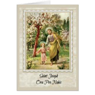 Cartão w/prayer de St Joseph para dentro