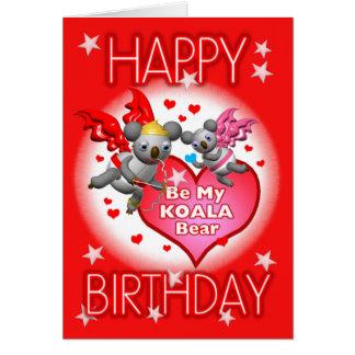Cartão w/Words dos corações do Koala do feliz