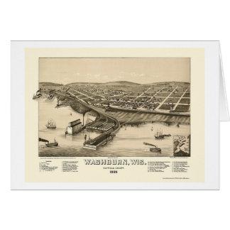 Cartão Washburn, mapa panorâmico dos WI - 1886