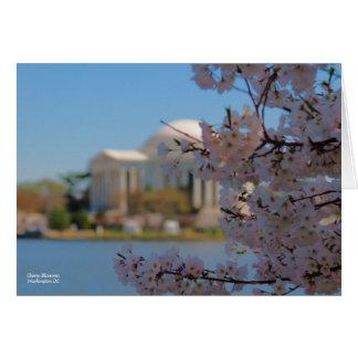 Cartão Washington DC das flores de cerejeira