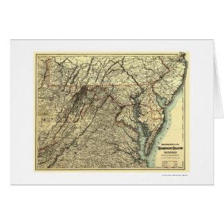 Cartão Washington & mapa atlântico 1883 da estrada de