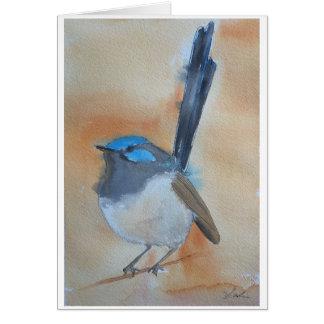 Cartão Watercolour azul da carriça